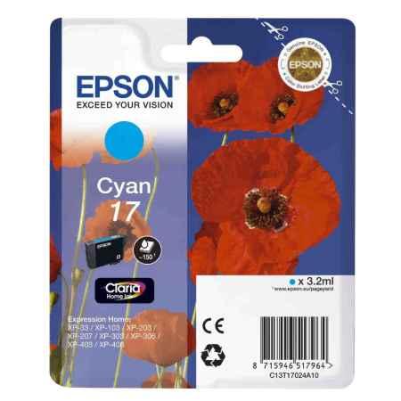 Купить Epson для Epson Expression Home XP-33 / 103 / 203 / 207 / 303 / 306 / 403 / 406 C13T17024A10 голубого цвета 150 страниц
