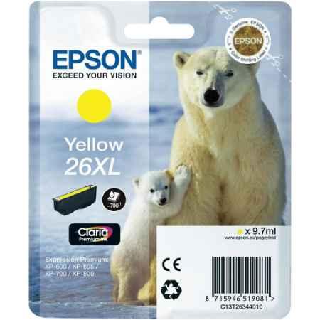 Купить Epson для Expression Premium XP-600/605/700/800 C13T26344010 желтого цвета 700 страниц