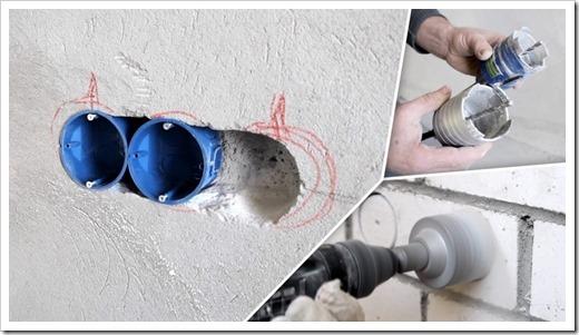 Как установить розетку в бетонную стену?